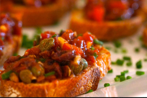 Fresh and sundried tomato crostini, Kalamata olives, capers,